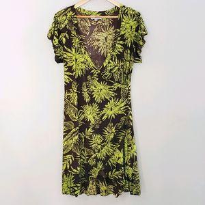 Papillon Short Sleeve Tropical Print Large Dress